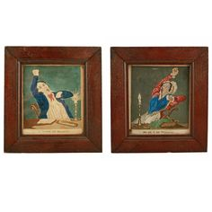 """Pair of 19th Century Coloured Prints   A pair of early 19th century coloured prints in later oak frames.  The prints are one of a gentleman yawning with the title """"I am tired of reading"""" and the other is of a lady yawning with the title """"So am I of working"""".  The gent has been reading 'Blair's Sermons' and the lady has been sewing.  The prints are in good condition, the print of the lady has a line down the centre caused by a wood worm eating it's previous backboard. (Circa 1830)  Height 24cm (9 Antique Prints, Antique Art, Objet D'art, 19th Century, Carving, Pairs, Georgian, Antiques, Tired"""