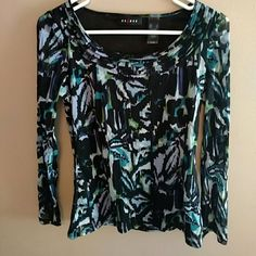 Axcess Abstract print blouse Mesh type material . Long sleeves. has a lining.  Perfect with black dress pants. Looks great on! Axcess Tops Blouses