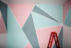 Bedroom Wall Designs, Bedroom Decor, Wall Decor, Geometric Wall Paint, Diy Wall Painting, Kids Room Paint, Paint Designs, Wall Colors, Girl Room