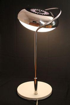 15 in. wide REGGIANI full rotating shade , chrome & perspex large  TABLE LAMP  Italia vintage mid century 1960 era $1,944.62