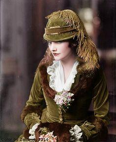 Katharine Cornell- victorian fashion dress details.  Colorized by, Gisele Nash, 2014
