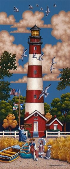 Assateague Lighthouse by Eric Dowdle - Assateague Island, Virginia Victorian beach Beautiful Tree Houses, House Beautiful, Cape Hatteras Lighthouse, Lighthouse Painting, Beacon Of Light, Naive Art, Tole Painting, Beach Art, Nautical Theme