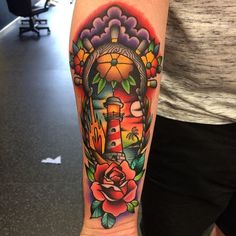Lighthouse Tattoo by Rich Warburton lighthouse lighthousetattoo traditional traditionaltattoo oldschool oldschooltattoo boldtraditional brighttattoos RichWarburton