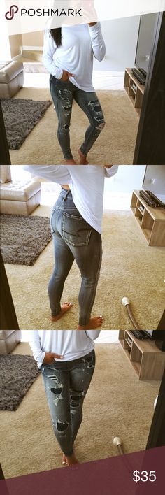 New destroyed skinny jeans Brand new never worn. High waisted. These are a 2 short. American Eagle Outfitters Jeans Skinny