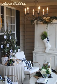 Beautiful Winter Porch by Dear Lillie: Christmas House Tour 2012
