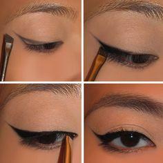 Foolproof cat eyes!  Smoky eyeshadow, eyeliner, and angled brush!  via nerdygirlmakeup