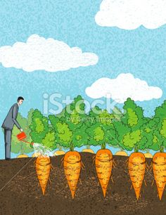 Tiny Businessman Watering His Carrots. Growth Concept Royalty Free Stock Vector Art Illustration