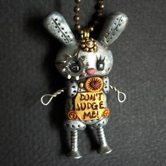 Steampunk Robot Easter Bunny Rabbit Necklace Polymer Clay Jewelry. $24.00, via Etsy.