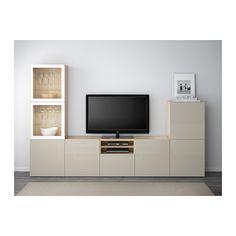 BESTÅ TV storage combination/glass doors - white stained oak effect/Selsviken high-gloss/beige clear glass, drawer runner, soft-closing - IKEA