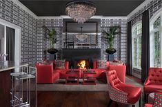 Eclectic red living room decor with red sectional sofa Red Living Room Decor, Art Deco Living Room, Living Room Colors, Living Room Modern, Interior Design Living Room, Living Room Designs, Cozy Living, Art Deco Zimmer, Red Sectional Sofa