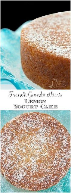 This fabulous French Grandmother's Lemon Yogurt Cake has a really fun history. It's also moist, super delicious and can be thrown together in minutes! via cake French Grandmother's Lemon Yogurt Cake 13 Desserts, Lemon Desserts, Delicious Desserts, Dessert Recipes, Yummy Food, Baking Desserts, Lemon Cake Recipes, Recipes With Yogurt, Baking With Yogurt