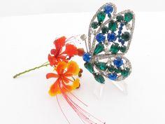Hobe Butterfly Brooch clear green blue rhinestones figural hard to find AA601 by MeyankeeGliterz on Etsy