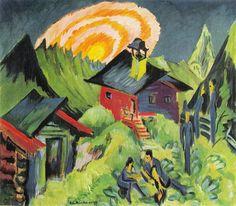 Enst Ludwig Kirchner, Rising moon in the Stafelalp, 1917