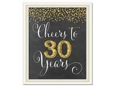 Cheers to 30 Years 30th Birthday Chalkboard by SunnyDaysCreation