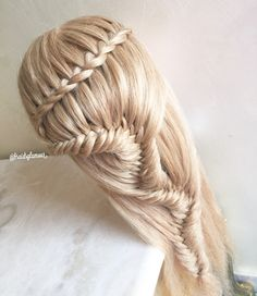 Faux waterfall into fishtail snack braid