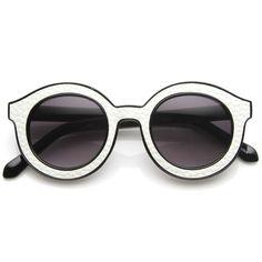 Popular Indie Block Cut Pattern Round Womens Sunglasses 9157