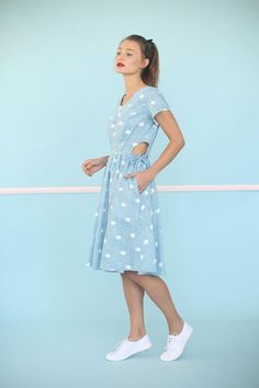 Cut Out Dress Polka Dot Dress Full Skirt by IsidoraAnneFashion