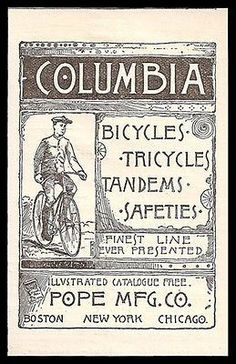 paperink id: ORIGINAL Period Magazine Advertisement. Small Ad measures approximately x You are purchasing a paper advertisement removed from a magazine and not the product shown in t Bicycle Painting, Bicycle Art, Tandem, Tricycle, Vintage Bikes, Vintage Ads, Columbia, Bike Poster, Old Advertisements