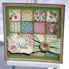 SU Four Frames, decorative label punch, uses up DSP(Springtime Vintage) scraps - sponged and embossed