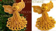 How To Crochet Angels For Christmas Decoration - Crochet Ideas Christmas Crochet Patterns, Crochet Christmas, Crochet Angels, Christmas Angels, Crochet Earrings, Projects To Try, Christmas Decorations, Crochet Bags, Crochet Ideas