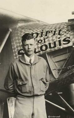 """Charles Augustus Lindbergh with the """"Spirit of St. Louis,"""" c.1928."""
