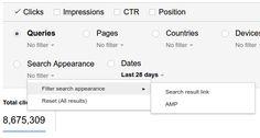 Filtre AMP dans la Google Search Console