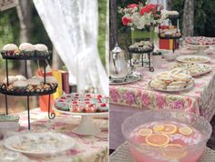 Backyard Tea Party! This blog is so sweet (Enjoying the Small Things). You have to look at all the pics of the tea party! I want to do one of these for my daughter sometime!