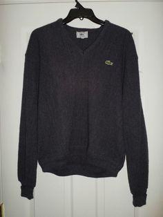 Men's Vintage Charcoal IZOD LACOSTE V-Neck Long Sleeve Sweater, Size L, GUC! #IZODLACOSTEVintage #VNeckSweaterShirt
