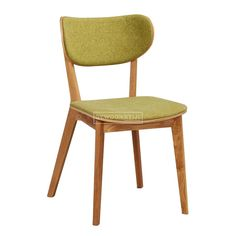 Oak wood combined with a felt-like moss green fabric, making it a most comfortable chair that's also very modern, with a vintage-y feel.