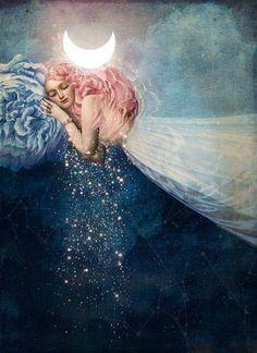 """""""The Sleep"""" — by Catrin Welz-Stein, German Illustration, surrealism - Art ideas Fantasy Kunst, Fantasy Art, Illustration Art, Illustrations, Wow Art, Art Moderne, Nocturne, Moon Child, Art Design"""