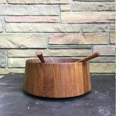 Huge Dansk Teak Salad Bowl and Servers Vintage Mid-Century Danish Modern JHQ Jens Quistgaard