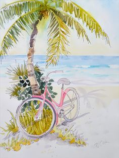 Pink Zen is a watercolor painting with a pink beach cruiser bicycle. Nice details done with pen & ink drawing. Offered all matted and frame.