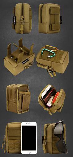 Dreamyth Durable EDC Mini Tactical Zipper Coin Purse Outdoor Men Key Pouch Money Bag Travel Kit