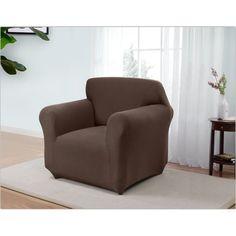 Red Barrel Studio Box Cushion Armchair Slipcover Upholstery: Brown