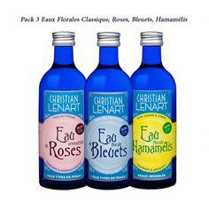 Trio d' #eaux #florales #rose #bleuet #hamamelis de la marque #Christian #LENART Vodka Bottle, 3 D, Christian, Roses, Witch Hazel, Blueberry, Orange Blossom, Beauty Recipe, Eau De Cologne