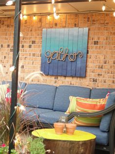 Cute Backyard Pallet Sign Wtih Rope Signspatio Signsoutdoor