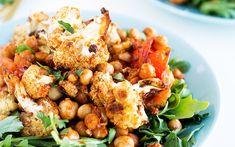 Roasted Spiced Cauliflower and Harissa Chickpea Salad [Vegan] - One Green PlanetOne Green Planet