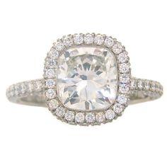 De Beers 2.24 Carat Cushion Cut Diamond Platinum Solitaire Ring