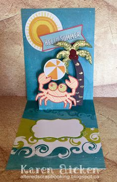 Karen Aicken using the Pop it Ups Lots of Pops, Rocky the Crab and Palm Tree die sets by Karen Burniston for Elizabeth Craft Designs. - Hello Summer Pop-Up Card