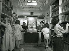 Inside the St. Paul Public Library Bookmobile in the 1950s.