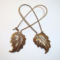 Shoply.com -Antique Gold Leaf Long Drop Earrings. Only C$4.95