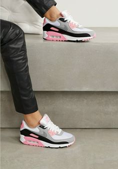 Nike - Air Max 90 suede, mesh and leather sneakers Women's Low Top Sneakers, Grey Sneakers, Leather Sneakers, Air Max Sneakers, Sneakers Nike, Leather And Lace, Black Leather, Metallic Leather, Nike Air Max Grey