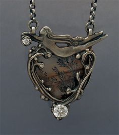 """""""Winter Dance"""" by Holly Gage -Sculpted antiqued fine silver, Dendritic Quartz gemstone, 2 cubic zircons"""