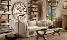 restoration hardware. OBSESSED with the huge clock..