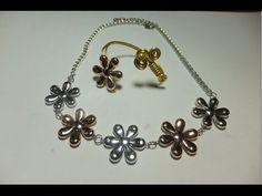 DIY Collar de flores metalicas a juego con brazalete.