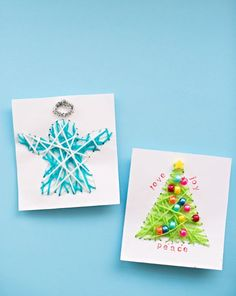 KID-MADE DIY STRING ART CHRISTMAS CARDS - so lovely, would make a perfect fine motor practice for Christmas!