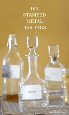 Vintage bottles and decanters look fantastic on any bar, but they can make it hard to tell your liquors apart. Dress up those bottles with these easy-to-make bar tags, and get to bartending!