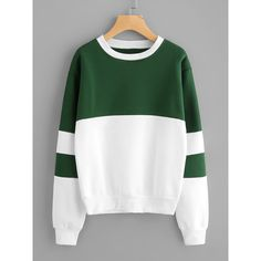 Color Block Sweatshirt (100 DKK) ❤ liked on Polyvore featuring tops, hoodies, sweatshirts, green white, polyester sweatshirt, sports sweatshirts, sweater pullover, color-blocked sweatshirt and white sweatshirt