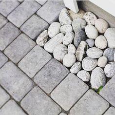 Dekorstein kan brukes til så mangt! Langs husveggen, i gårdsplassen, i skråningen eller som her; nedfallet fra takrenna. Vakkert, enkelt og… Blueberry, Floor, Photo And Video, Fruit, Instagram, Pavement, Berry, Boden, Flooring