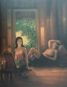 """Khun Phaen & Wanthong"", oil on canvas, 1974, by a Thai national artist Chakrabhand Posayakrit"